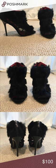 Charles Jourdan peep toe rabbit fur bootie Black Charles Jourdan rabbit fur peep toe booties with mesh side, stiletto heel. Never been worn, in excellent condition. Size 9.5, purchased for $215, sticker/tag attached Charles Jourdan Shoes Ankle Boots & Booties