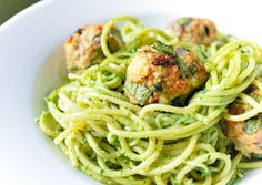 Spaghetti and Turkey Meatballs with Spinach Pesto from @inspiredtaste
