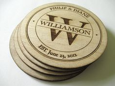 Balsa Wood Coasters (4) , Personalized Coasters , Personalized Wedding Gift , Monogrammed Gift , Personalized Family Name Signs , Gifts 25