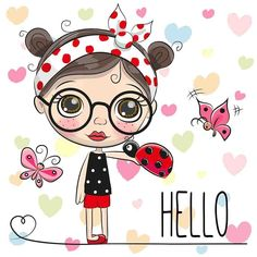 Illustration about Cute Cartoon Girl with a ladybug and butterflies. Illustration of drawn, front, hello - 97753083 Cute Cartoon Girl, Baby Cartoon, Disney Cartoon Characters, Fictional Characters, Animal Coloring Pages, Free Illustrations, Drawing For Kids, Cute Love, Cute Drawings