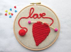 Embroidery hoop art, knitted heart hoop, Valentine's day gift, heart decor, love message gift, red heart