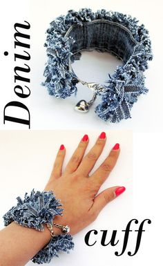 Items similar to Blue Jean Bracelet on EtsyHandmade and up-cycled from old jean material. Denim Bracelet, Denim Earrings, Fabric Earrings, Fabric Jewelry, Cuff Bracelets, Zipper Jewelry, Fabric Brooch, Jean Crafts, Denim Crafts