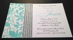 #Teal #Sweet16Invitation with #Bling!