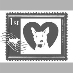 First Class English Bull Terrier Stamp Print in by TheTerriersClub