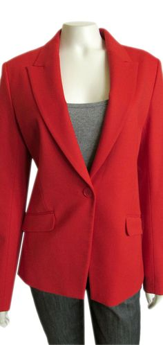 """Theory Narolie Elite Vermillion Red Wool Jacket size 10   Gorgeous Theory Narolie jacket! Done in the lines signature wool blend """"Elite"""" material, and a warm red """"Vermillion"""" color; that is perfect for Spring! Jacket styling includes a folded collar with notched lapels, single button front closure, slim fit, two front pockets, full lining and long sleeves....  #Theory #Clothing #Brand   #sale #Jackets #Red #Jacket #Blazer #Size10"""