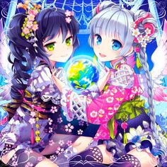 Do you like magical girls anime like Twin Angel? 2 cute girl in yukata #animegirl