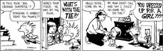 Can't help but wonder what heinous crime Susie committed to be sentenced to spend time at Calvin's. Call Orange, Calvin And Hobbes Comics, John Calvin, My Calvins, Online Comics, Funny Comics, Comic Strips, Hilarious, Hobbs