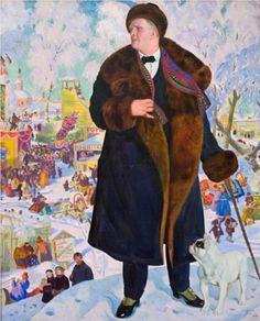 Portrait of Fyodor Chaliapin   - Boris Kustodiev. Russia.