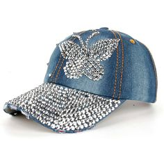 High Quality Women Men Butterfly Denim Rhinestone Baseball Cap Snapback Hip  Hop Flat Hat casquette de marque Brand Name  feitongMaterial   CottonDepartment ... e78665cbac3
