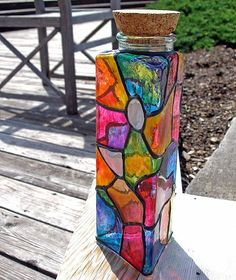 gallary glass painted bottles   Art: Facets III by Artist Diane G. Casey