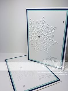 Smoky slate, pool party, night of navy.  Winter snowflake embossing folder