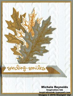 """Handmade card using Stampin' Up! products - Vintage Leaves Photopolymer Stamp Set, Greatest Greetings Stamp Set, Cable Knit Dynamic Embossing Folder, Leaflets Framelits, 5/8"""" Mini Striped Ribbon, 3/8"""" Ribbon Trio Pack, and Bunch of Banners Framelits.  By Michele Reynolds, Inspiration Ink."""