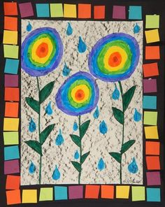 """April Showers & Rainbow Flowers"", 2nd grade, texture rub, color theory, collage"