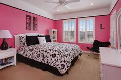 Awesome Black And Pink Bedroom Ideas With Bedroom Black White And Pink Bedroom Decorating Ideas Pink Girl Room Pink Bedroom Walls, Pink Bedroom For Girls, Pink Bedroom Decor, Teen Girl Rooms, Teenage Room, Bedroom Black, Pink Room, Trendy Bedroom, Bedroom Colors