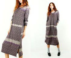Boho Dress / Boho Print Dress / Summer Casual Dress / Hippie Dress / Split Dress / Long Sleeve Dress / Loose Dress / Maxi Dress / Size L