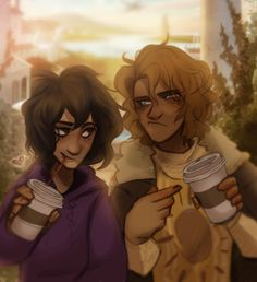 """Will: """"See, I told you this would happen. Now my coffee is cold."""" Nico: -chews cocoa straw- …worth it. They totally didn't just finish making out behind the Apollo cabin. 