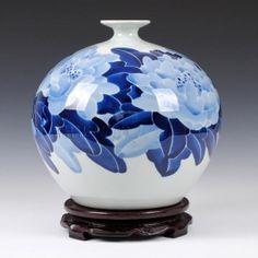 Hand Painted Underglaze Peony Vase