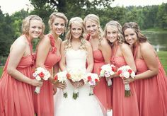 obsessed with coral bridesmaid dresses