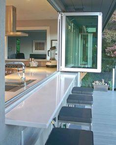 WEBSTA @ arq.paularoque - Bancada para inspirar ✨ Que tal fazer a cozinha para o espaço de lazer e abrir a janela quando for utilizar o espaço? #boatarde