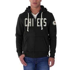 Mens Kansas City Chiefs '47 Brand Black Cross Check Full Zip Hoodie