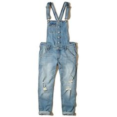 Hollister Crop Boyfriend Denim Overalls ($70) ❤ liked on Polyvore featuring jumpsuits, ripped medium wash, blue bib overalls, bib overalls, cropped jumpsuit, distressed overalls and denim bib overalls