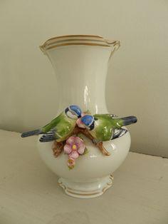 Porcelain Vase with Blue Bird Love Birds by German Unterweissbach