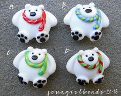 Nordpol-a-Bären fokale Lampwork Bead