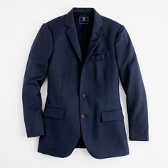 Men's JCrew Factory Thompson two-button suit jacket with double-vented back in wool. Cut slim through the body for a modern fit and crafted in polished wool, it pairs perfectly with our matching Thompson suit pant and looks equally dapper with denim.      Dry clean.      Import.  Sale Price $188