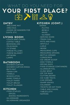Prepare to move into your first apartment with this handy checklist.
