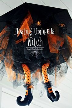 """Floating Umbrella Witch DIY for Halloween: The witching hour is near…Halloween is less than two weeks away, time to polish your shoes, dust off your broom and buy a new hat! Are you ready for some witch """"craft""""…how about… Dollar Store Halloween, Fete Halloween, Halloween Trees, Halloween Porch, Holidays Halloween, Halloween Crafts, Holiday Crafts, Holiday Fun, Happy Halloween"""