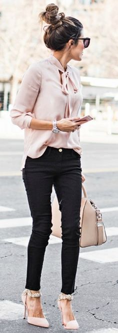 Summer Office Outfit | winter wardrobe blush pink christine andrew gorgeous silky blouse matching heels bag top shopbop jeans nordstrom heels aminah abdul 86