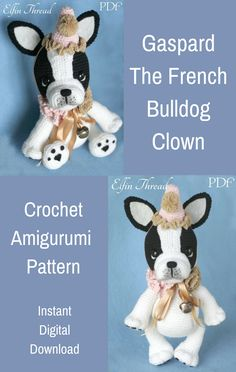 Gaspard the French Bulldog Clown is an adorable crocheted amigurumi doll that would love to be the life of your party. pattern. #crochet #amigurumi #crochetdoll #ad #amigurumidoll #amigurumipattern #bulldog #frenchbulldog #clown #instantdownload