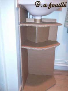 Upcycled Cardboard around a Siphon as Bathroom Furniture Recycled Cardboard Diy Furniture Nightstand, Diy Cardboard Furniture, Cardboard Storage, Recycled Furniture, Bathroom Furniture, Recycled Crafts, Planer, Upcycle, Recycling