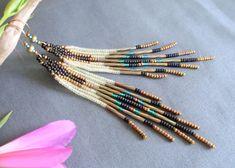 Boucles d'oreilles ethniques à frange, en perles tissées, style amérindien revisité