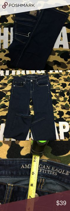 🔥 American Eagle Skinny Denim Jeans Dark Wash American Eagle Women's Skinny Denim Stretch Jeans Size  ,Please Refer to the Pictures   Size 2 Short  Measurements:   • Waist - 14 (28) in  • Rise - 7.5 in  • Inseam - 25 in  • Leg opening 5.5 in  Thank You for checking Out This Item :) , Be sure to add other Items from my Closet to Your Bundle before you Checkout for 10% off your order!  Fishman6 - F51 Cross American Eagle Jeans Skinny
