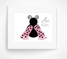 Pink Ladybug Baby Footprint Art Print - Baby Girl Nursery Art - Pink Nursery Wall Art - Personalized Girls Room via Etsy