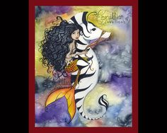 Africian Mermaid  on Zebra Seahorse from Original Watercolor Painting by Camille Grimshaw