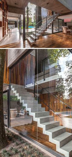 Concrete stairs lead to the upper level of this modern house, while the large windows show off the stairs when viewed from the backyard. stairs Besonias Almeida Arquitectos Have Designed A New Concrete And Wood House In Buenos Aires Stairs Window, House Stairs, Stairs Architecture, Interior Architecture, Home Made Simple, Concrete Stairs, Modern Stairs, Interior Stairs, Staircase Design