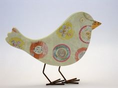 Original Mixed Media Wood Bird With Metal Feet by cheryldossey, $25.00