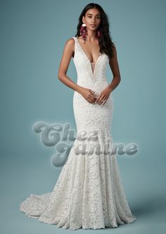 Maggie Sottero - HEPBURN Fit-and-Flare Wedding Gown. What is soft and romantic must also be perfectly tailored. Say hello to chic comfort in this boho sheath wedding dress in vintage-inspired lace. Wedding Dress Boutiques, Designer Wedding Gowns, Formal Bridesmaids Dresses, Bridal Dresses, Wedding Dress Necklines, Sottero And Midgley Wedding Dresses, Vestidos Sexy, Fit And Flare Wedding Dress, Dress Out