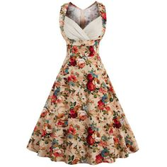 Retro Style High-Waisted Floral Print Women's Dress #valentineday #Coupons #gifts #love