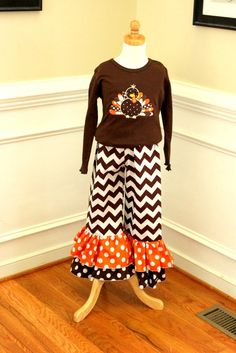 Thanksgiving outfit for girls girls thanksgiving chevron ruffle pant set turkey shirt chevron ruffle pants double ruffle pants brown toddler on Etsy, $53.00