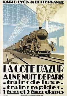TX200 Vintage Cote D'Azur Deluxe Train French Raliway Travel Poster RePrint A4