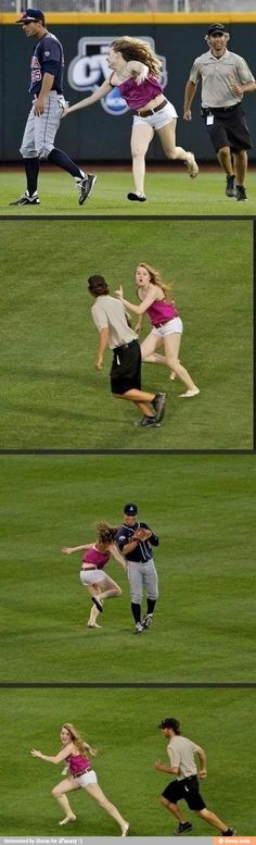 She ran onto the field and was smacking the players butts. Lol I love that the players are laughing