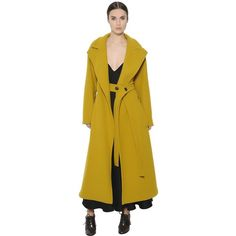 Sportmax Women Belted Boiled Wool Long Coat ($3,450) ❤ liked on Polyvore featuring outerwear, coats, ochre, belted coat, yellow coat, long boiled wool coat, long coat and longline coat