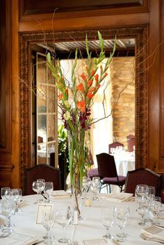 Tall wedding centerpiece with gladiolus
