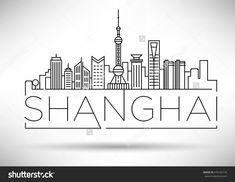 Minimal Vector Shanghai City Linear Skyline with Typographic Design