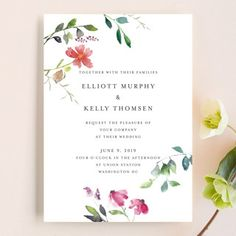 """""""Spring Wildflowers"""" - Wedding Invitations in Pink Floral by Nikkol Christiansen. Script font for names. Lighter pink"""