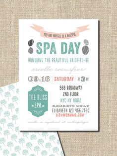 spa party bridal shower birthday invitation by lepoetikstudio.    I would much rather do this than get drunk and act foolish!
