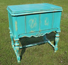 Repurposed Upcycled Distressed  Sewing Machine Storage Cabinet Side Table by GadgetSponge, $375.00